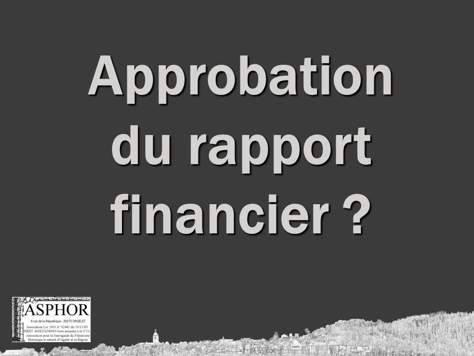 Approbation du rapport financier