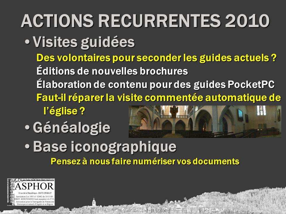 ACTIONS RECURRENTES 2010 Visites guidéesVisites guidées Des volontaires pour seconder les guides actuels .