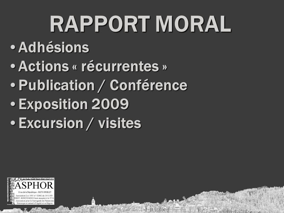 RAPPORT MORAL AdhésionsAdhésions Actions « récurrentes »Actions « récurrentes » Publication / ConférencePublication / Conférence Exposition 2009Exposition 2009 Excursion / visitesExcursion / visites