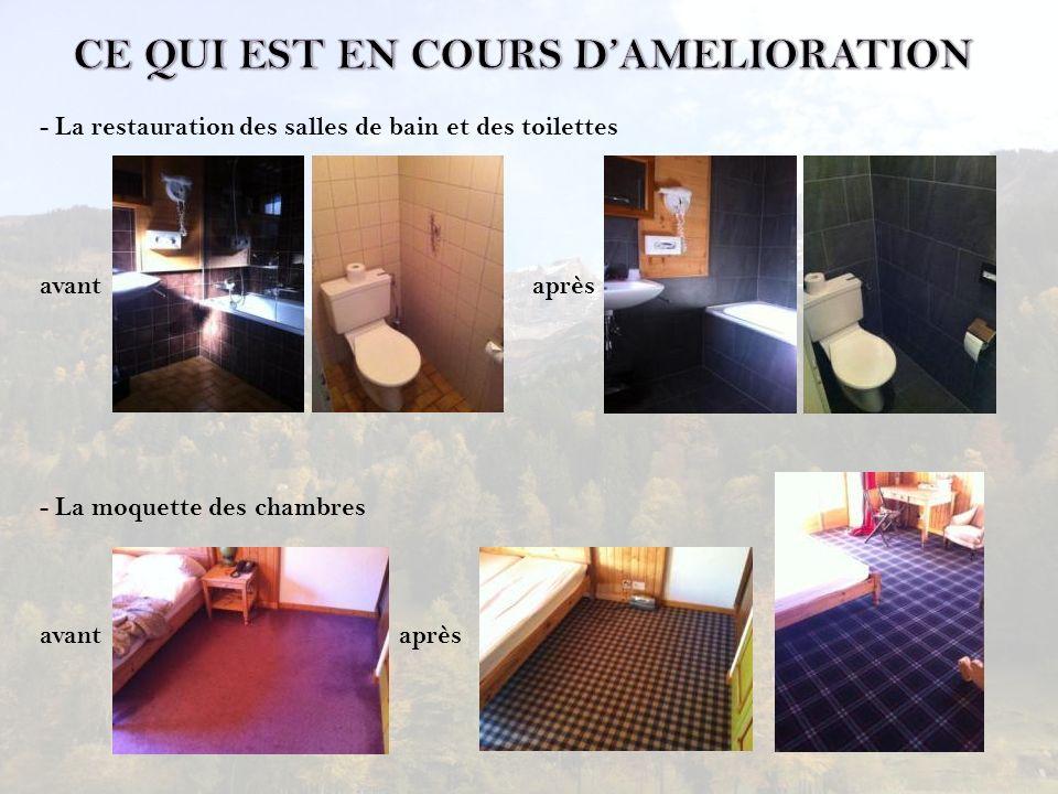 - La restauration des salles de bain et des toilettes avant après - La moquette des chambres avant après