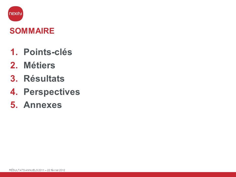 RÉSULTATS ANNUELS 2011 – 22 février 2012 PAGE 43 (M) 20112010 Capacité dautofinancement après paiement des intérêts et impôts 159171 Variation du BFR dexploitation 14176 Flux de trésorerie liés aux investissements opérationnels (11) (10) Cash-Flow libre 162337 Dividendes reçus des sociétés mises en équivalence 121 Produit de la cession de la participation dans Eurosic 196 - Flux de trésorerie liés aux opérations dinvestissements financiers (36)(5) Dividende payé (314)(86) Programme rachat dactions (1)(66) Flux de trésorerie liés aux opérations de financement (184)(37) Variation de trésorerie (165)144 CASH FLOW
