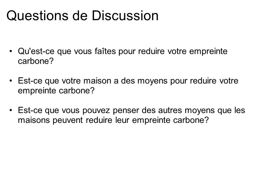 Questions de Discussion Qu'est-ce que vous faîtes pour reduire votre empreinte carbone? Est-ce que votre maison a des moyens pour reduire votre emprei