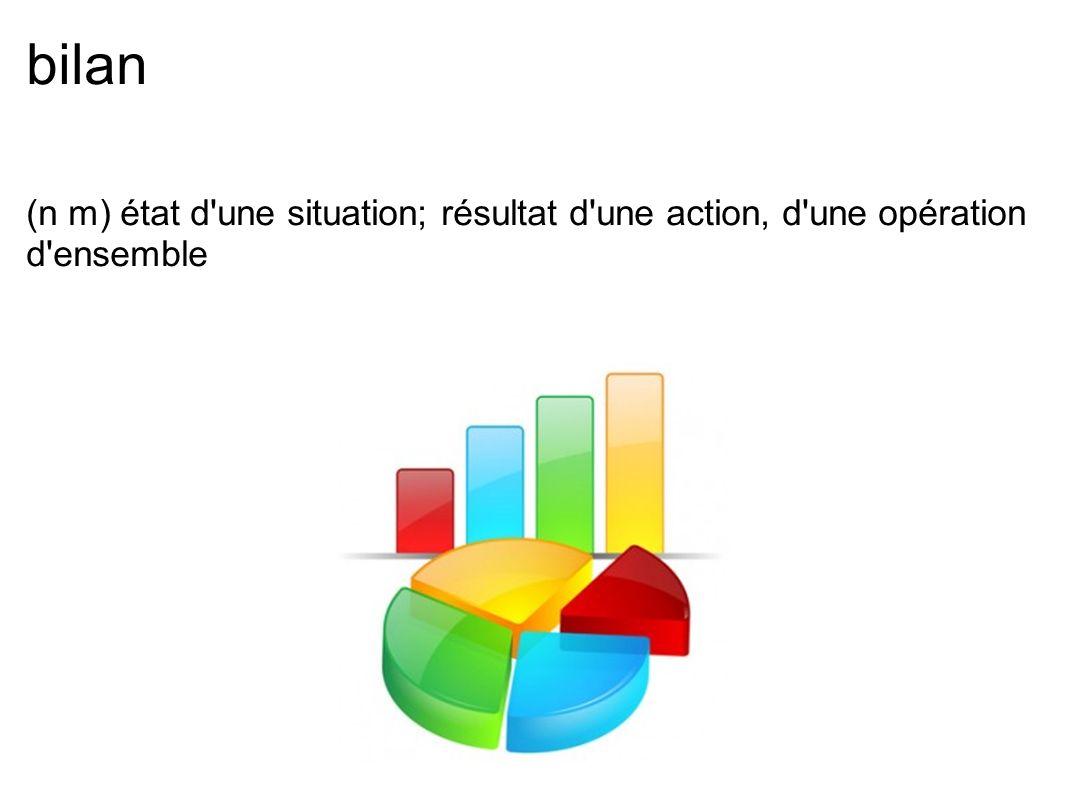 bilan (n m) état d'une situation; résultat d'une action, d'une opération d'ensemble