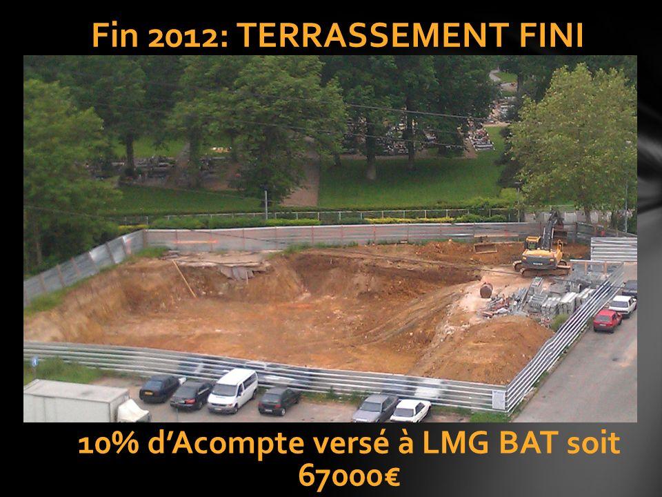 Fin 2012: TERRASSEMENT FINI 10% dAcompte versé à LMG BAT soit 67000