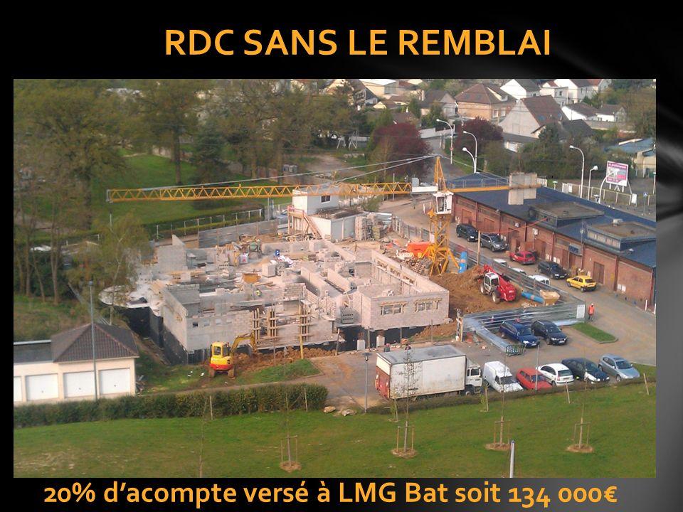 20% dacompte versé à LMG Bat soit 134 000 RDC SANS LE REMBLAI