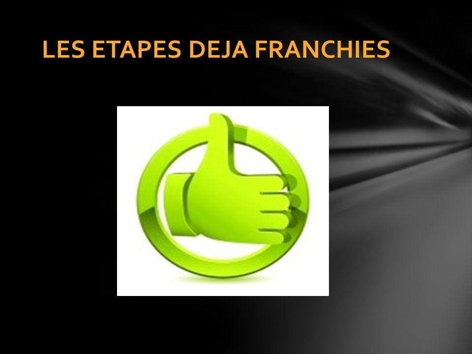 LES ETAPES DEJA FRANCHIES
