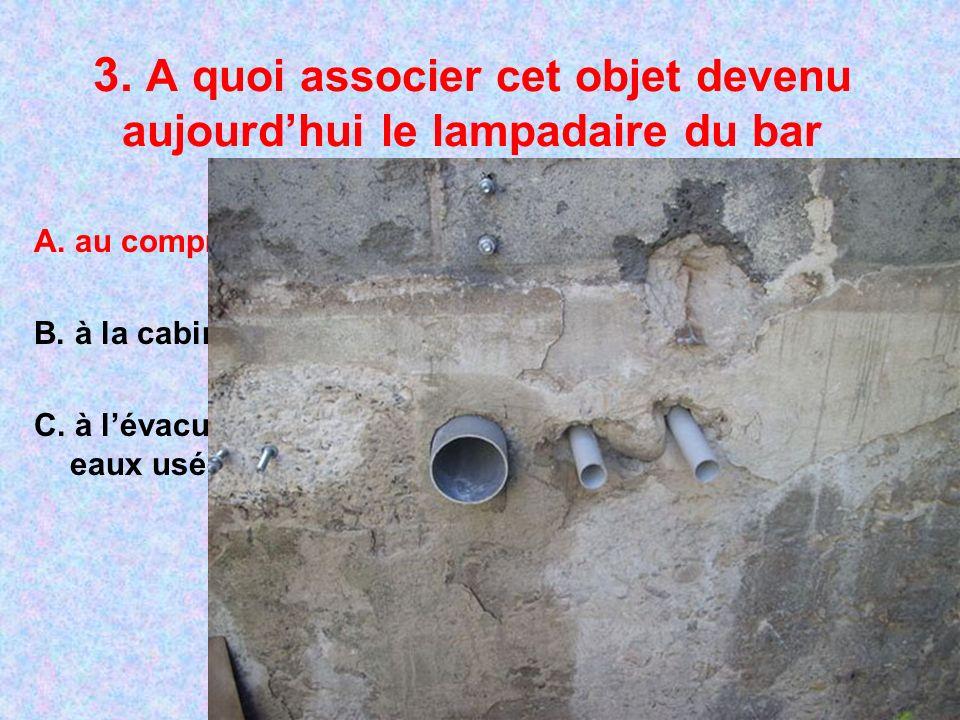 3. A quoi associer cet objet devenu aujourdhui le lampadaire du bar A. au compresseur B. à la cabine de douche C. à lévacuation des eaux usées