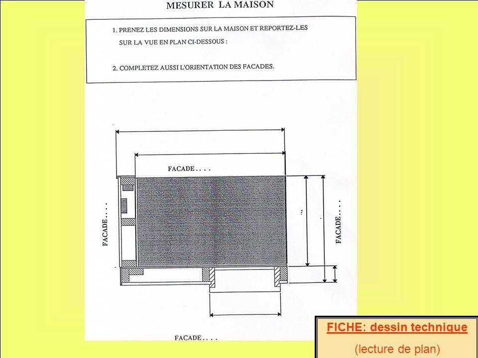 FICHE: dessin technique (lecture de plan)