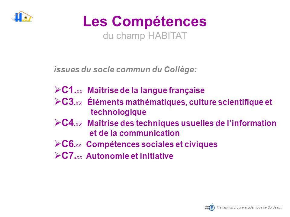 Travaux du groupe académique de Bordeaux Les Compétences du champ HABITAT issues du socle commun du Collège: C1. xx Maîtrise de la langue française C3
