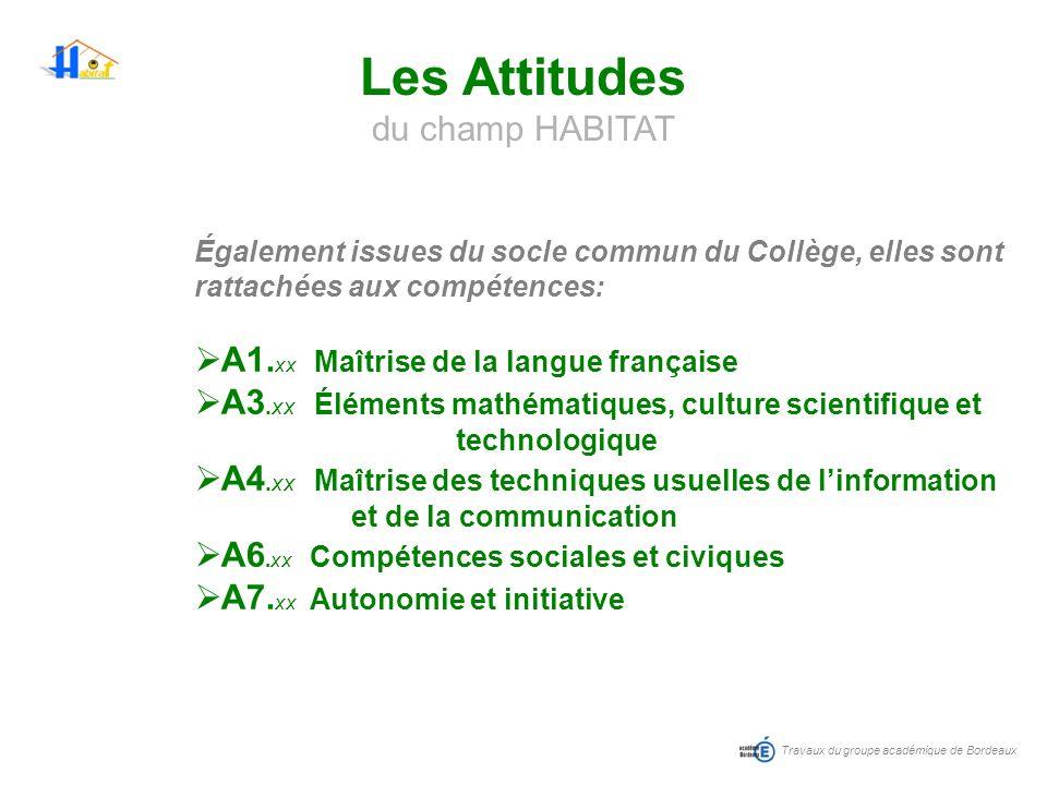 Travaux du groupe académique de Bordeaux Les Attitudes du champ HABITAT Également issues du socle commun du Collège, elles sont rattachées aux compéte