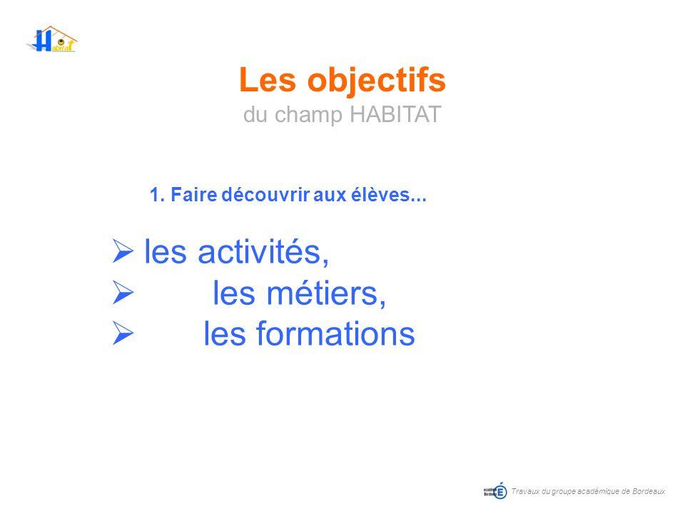 Travaux du groupe académique de Bordeaux 1. Faire découvrir aux élèves... les activités, les métiers, les formations Les objectifs du champ HABITAT