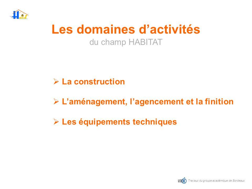 Travaux du groupe académique de Bordeaux La construction Laménagement, lagencement et la finition Les équipements techniques Les domaines dactivités d