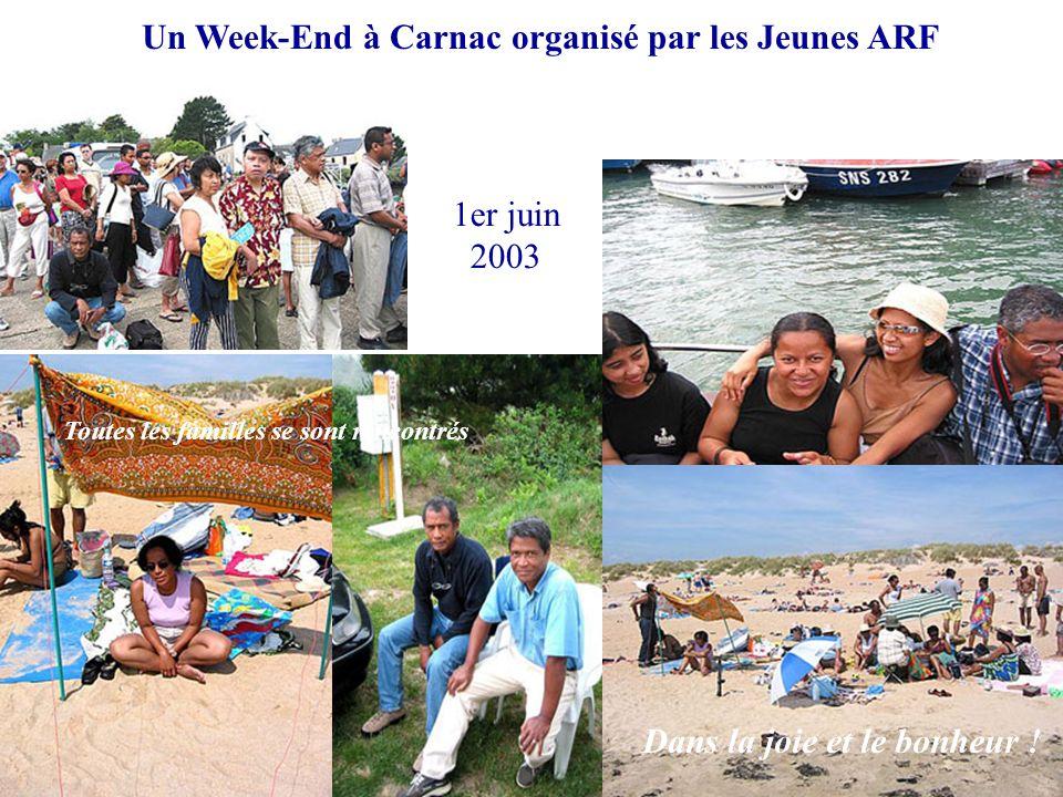 Dans la joie et le bonheur ! Toutes les familles se sont rencontrés Un Week-End à Carnac organisé par les Jeunes ARF 1er juin 2003