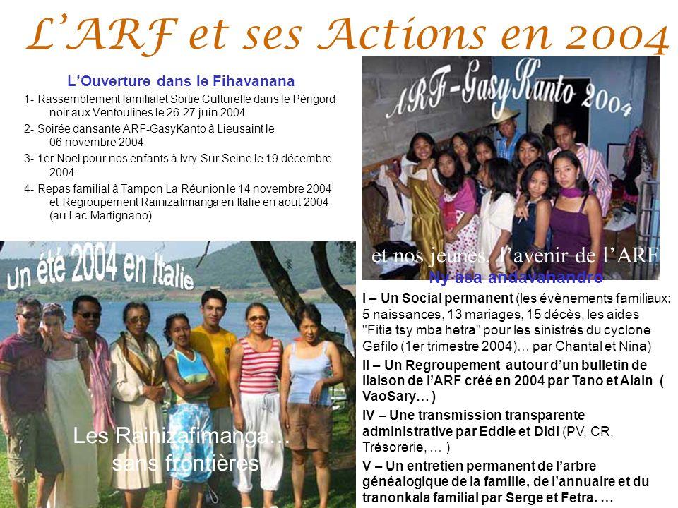 LARF et ses Actions en 2004 LOuverture dans le Fihavanana 1- Rassemblement familialet Sortie Culturelle dans le Périgord noir aux Ventoulines le 26-27