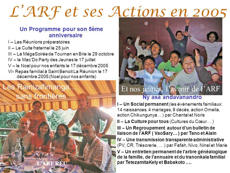 LARF et ses Actions en 2005 Un Programme pour son 5ème anniversaire I – Les Réunions préparatoires II – Le Culte fraternel le 25 juin III – La MégaSoi