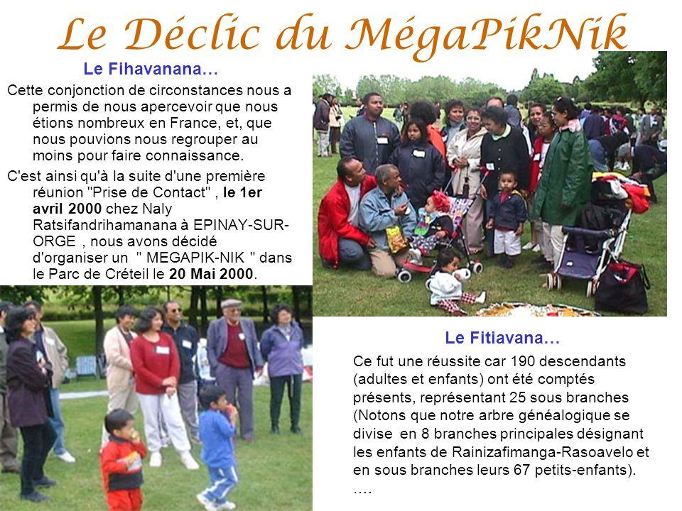 Le Déclic du MégaPikNik Le Fihavanana… Cette conjonction de circonstances nous a permis de nous apercevoir que nous étions nombreux en France, et, que nous pouvions nous regrouper au moins pour faire connaissance.