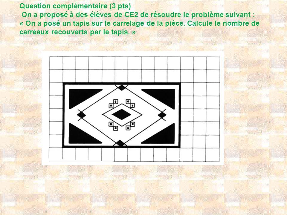 Question complémentaire (3 pts) On a proposé à des élèves de CE2 de résoudre le problème suivant : « On a posé un tapis sur le carrelage de la pièce.