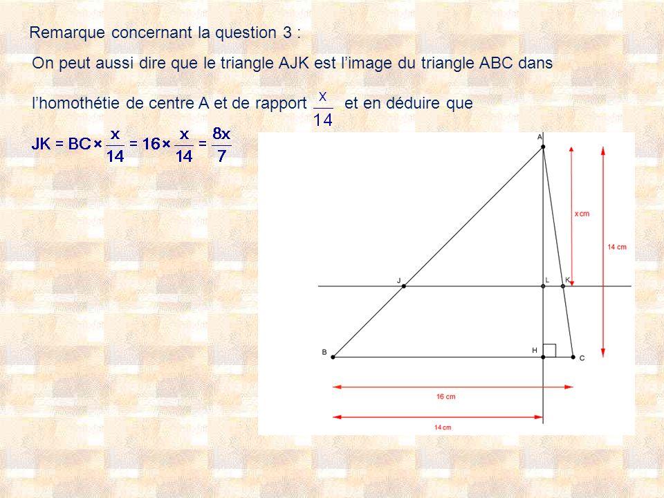 Remarque concernant la question 3 : On peut aussi dire que le triangle AJK est limage du triangle ABC dans lhomothétie de centre A et de rapport et en déduire que