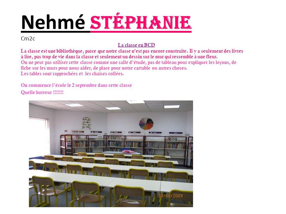 Nehmé Stéphanie Cm2c La classe en BCD La classe est une bibliothèque, parce que notre classe nest pas encore construite.
