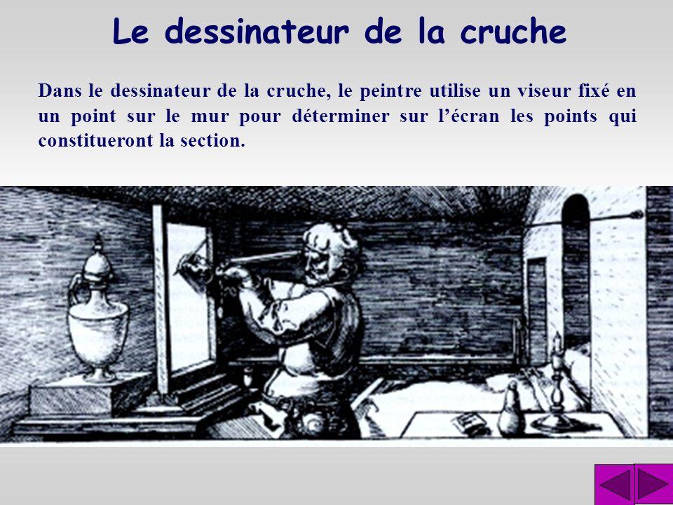 Le dessinateur du luth Dans le dessinateur du luth, le peintre montre limage laissée sur lécran de verre.