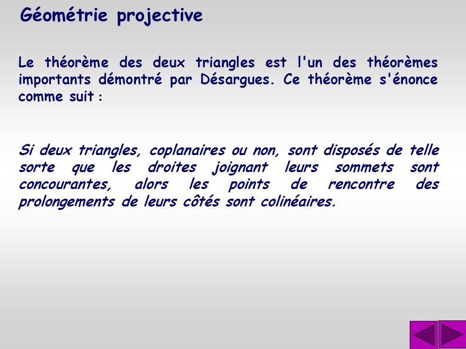 Géométrie projective Ce sont les questions fonda- mentales de la géométrie projective qui a été inventée par Gérard Désargues (1593- 1661). Le traité