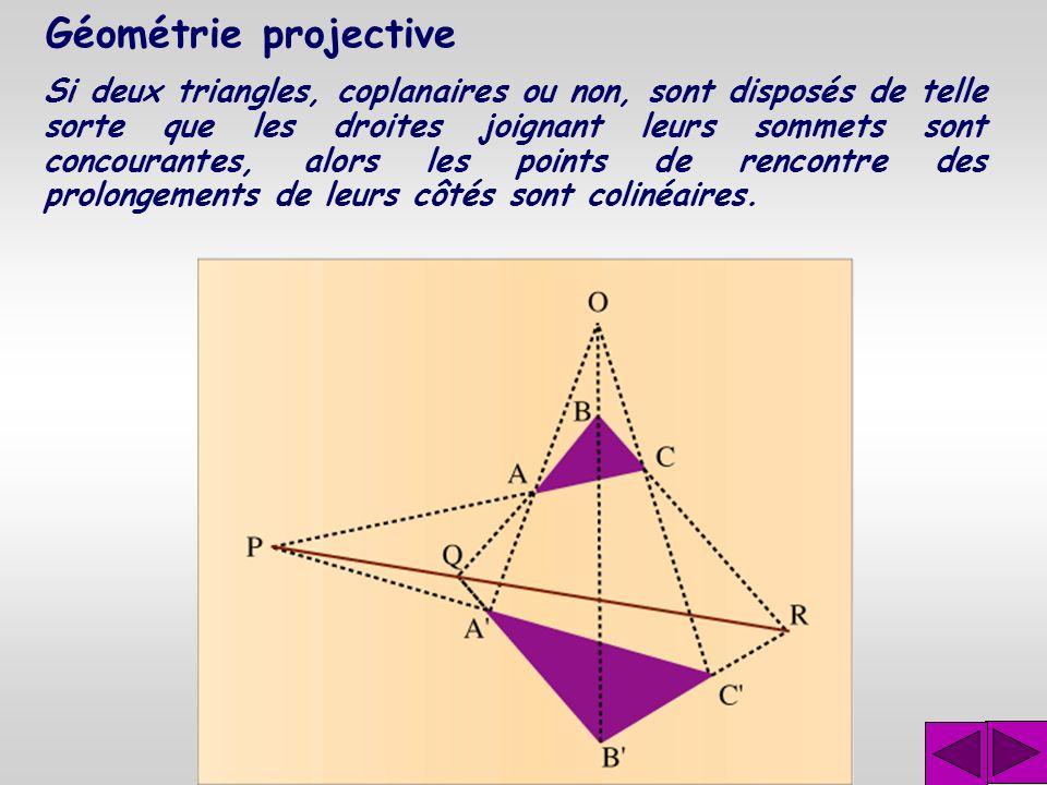 Géométrie projective Le théorème des deux triangles est l'un des théorèmes importants démontré par Désargues. Ce théorème s'énonce comme suit : Si deu