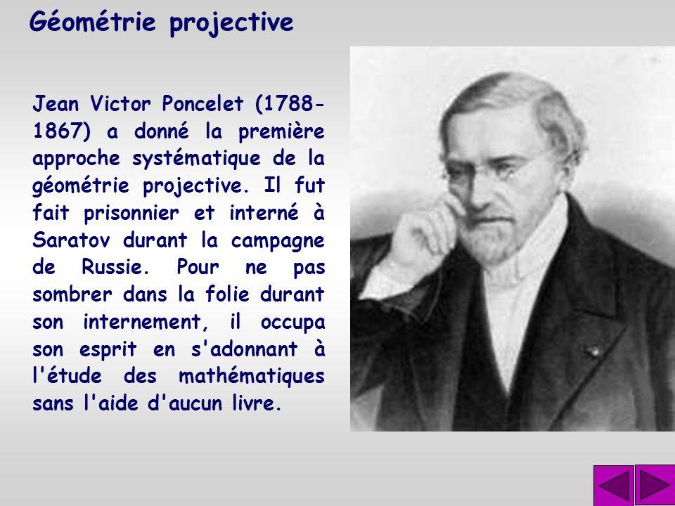 Géométrie projective Le théorème de Désargues décrit une propriété de deux sections différentes d'une même projection.