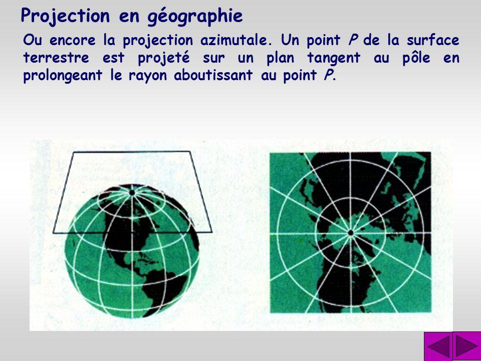 Projection en géographie Pour des latitudes supérieures à 60˚, les distorsions sont importantes. On utilise alors la projection conique. Un point P de