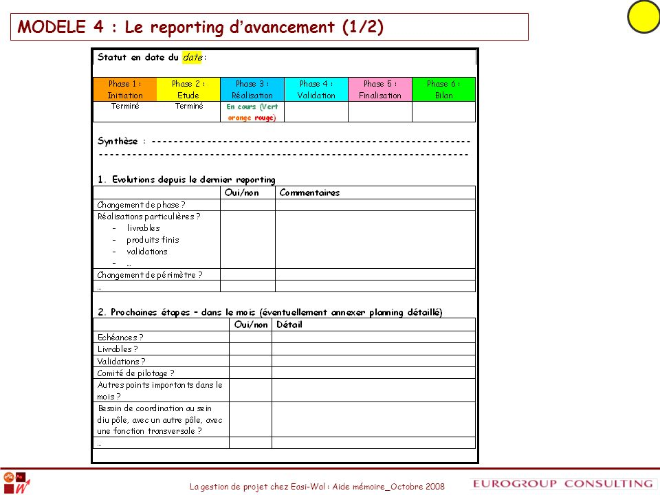 La gestion de projet chez Easi-Wal : Aide mémoire_Octobre 2008 MODELE 4 : Le reporting d avancement (1/2)