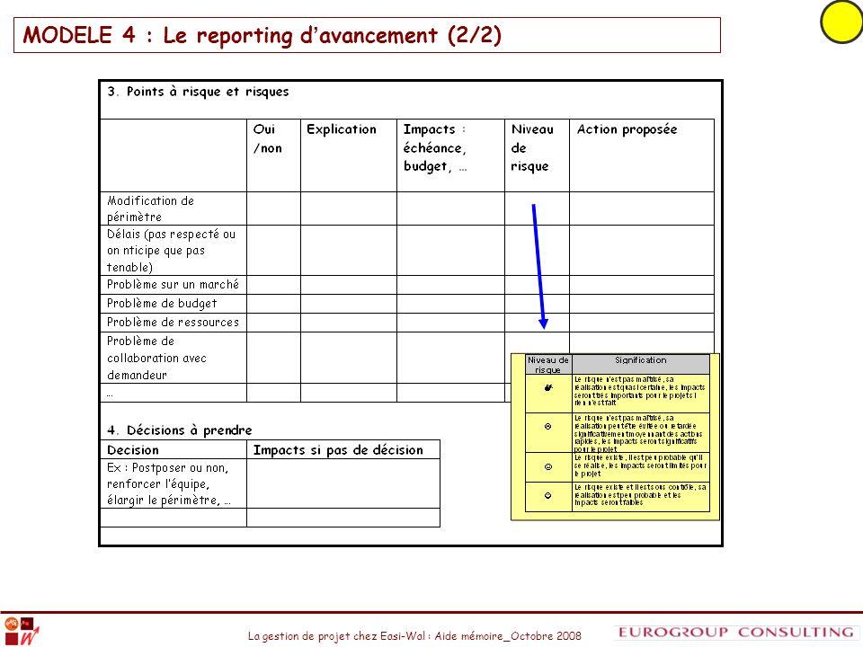 La gestion de projet chez Easi-Wal : Aide mémoire_Octobre 2008 MODELE 4 : Le reporting d avancement (2/2)