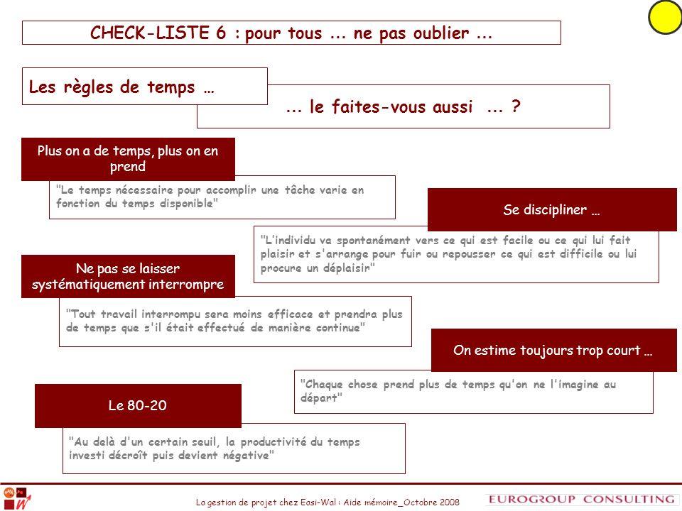 La gestion de projet chez Easi-Wal : Aide mémoire_Octobre 2008