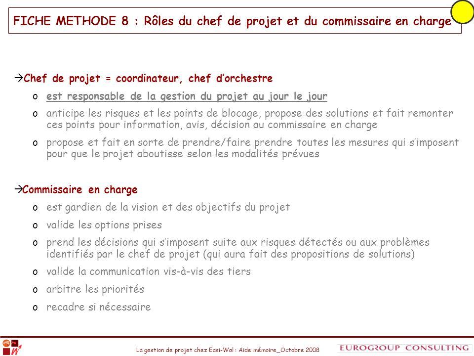 La gestion de projet chez Easi-Wal : Aide mémoire_Octobre 2008 Chef de projet = coordinateur, chef dorchestre oest responsable de la gestion du projet