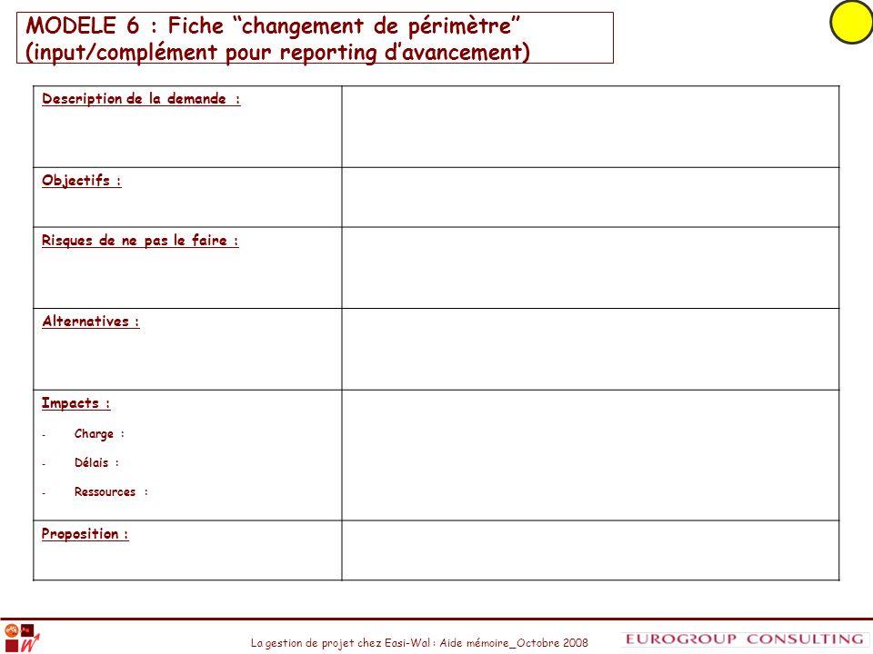 La gestion de projet chez Easi-Wal : Aide mémoire_Octobre 2008 MODELE 6 : Fiche changement de périmètre (input/complément pour reporting davancement)