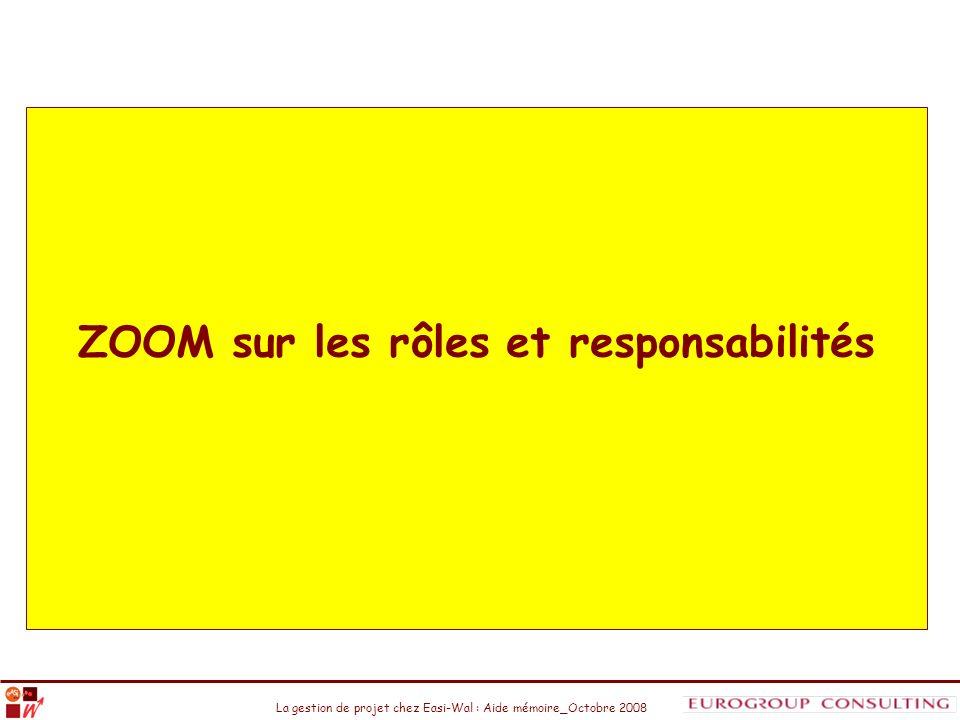 La gestion de projet chez Easi-Wal : Aide mémoire_Octobre 2008 ZOOM sur les rôles et responsabilités