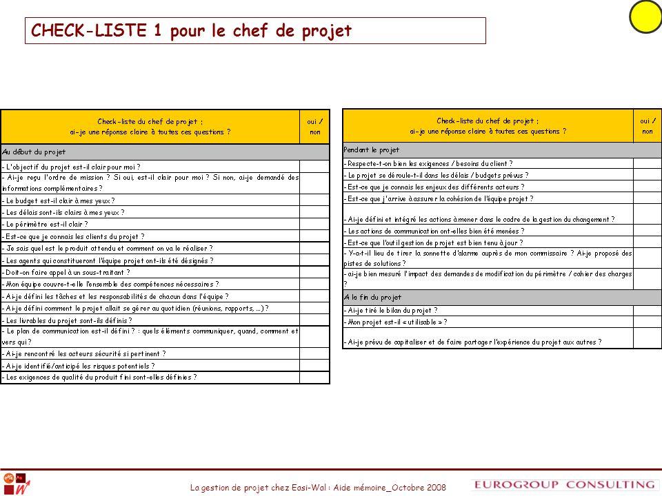 La gestion de projet chez Easi-Wal : Aide mémoire_Octobre 2008 CHECK-LISTE 1 pour le chef de projet