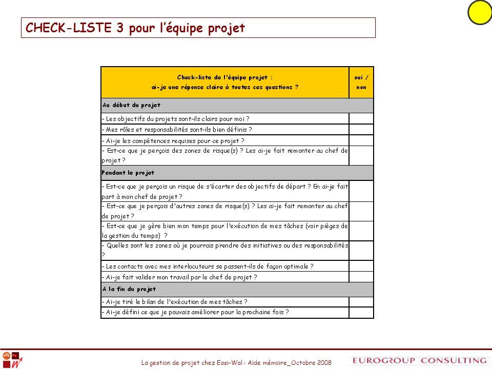La gestion de projet chez Easi-Wal : Aide mémoire_Octobre 2008 CHECK-LISTE 3 pour léquipe projet