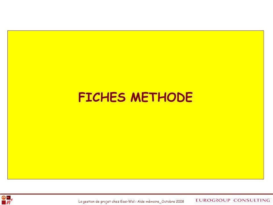 La gestion de projet chez Easi-Wal : Aide mémoire_Octobre 2008 FICHES METHODE