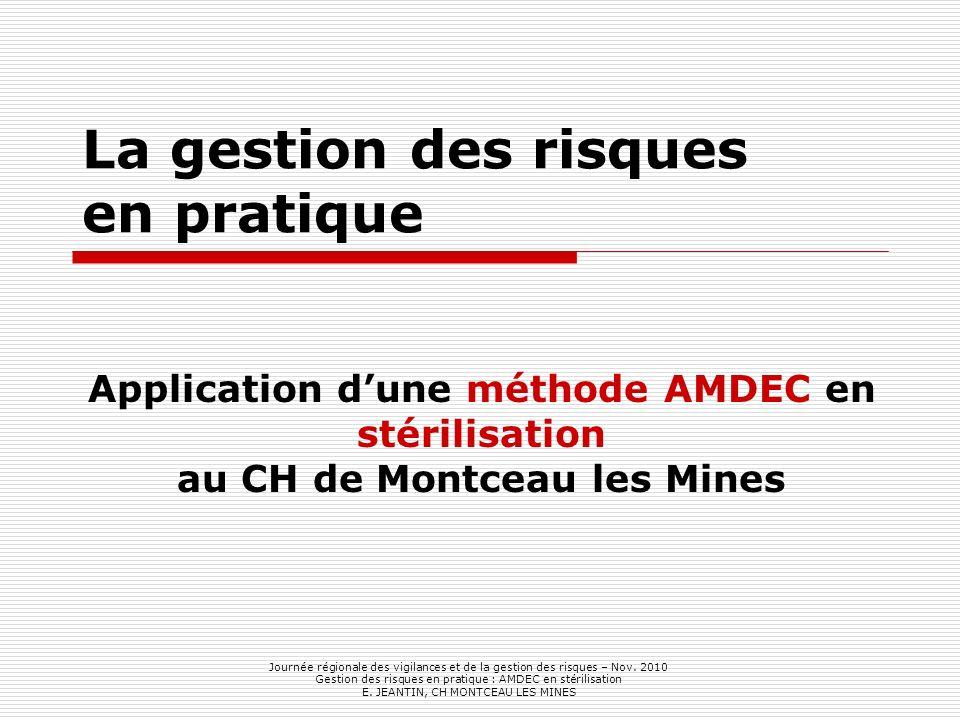 La gestion des risques en pratique Application dune méthode AMDEC en stérilisation au CH de Montceau les Mines Journée régionale des vigilances et de