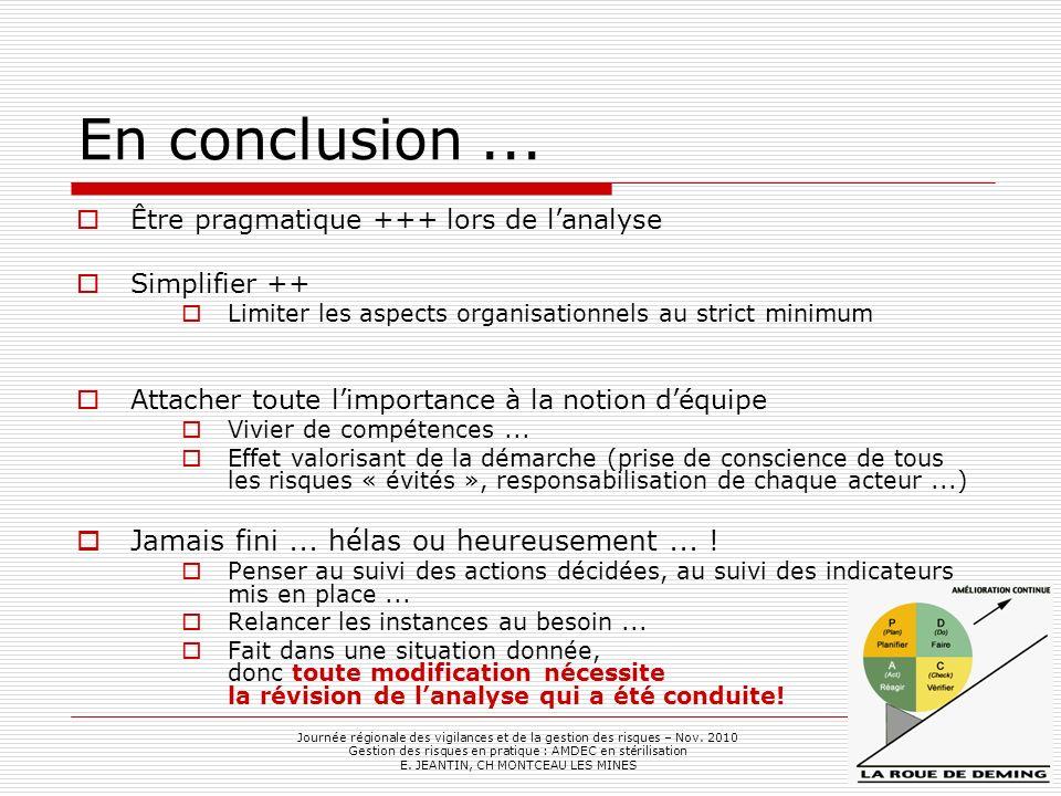 En conclusion... Journée régionale des vigilances et de la gestion des risques – Nov. 2010 Gestion des risques en pratique : AMDEC en stérilisation E.