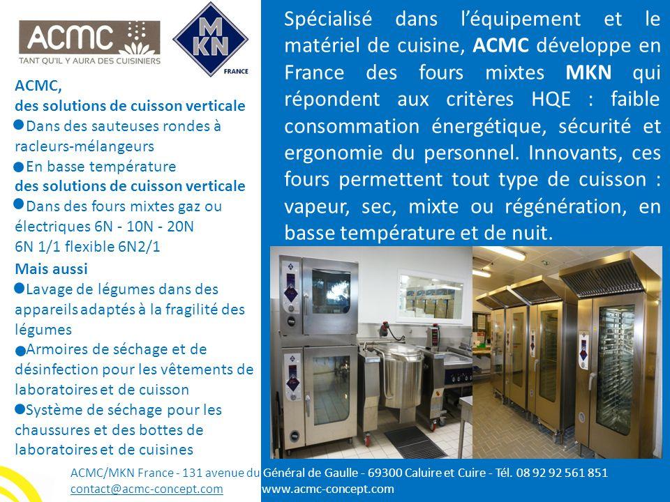 ACMC, des solutions de cuisson verticale Dans des sauteuses rondes à racleurs-mélangeurs En basse température des solutions de cuisson verticale Dans