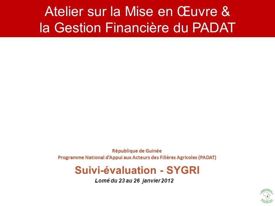 Atelier sur la Mise en Œuvre & la Gestion Financière du PADAT Lomé du 23 au 26 janvier 2012 République de Guinée Programme National dAppui aux Acteurs