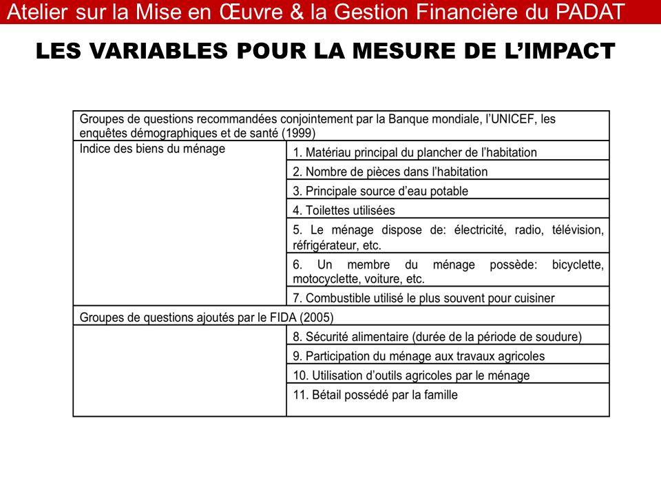 LES VARIABLES POUR LA MESURE DE LIMPACT Atelier sur la Mise en Œuvre & la Gestion Financière du PADAT