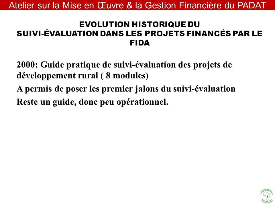 EVOLUTION HISTORIQUE DU SUIVI-ÉVALUATION DANS LES PROJETS FINANCÉS PAR LE FIDA 2000: Guide pratique de suivi-évaluation des projets de développement r