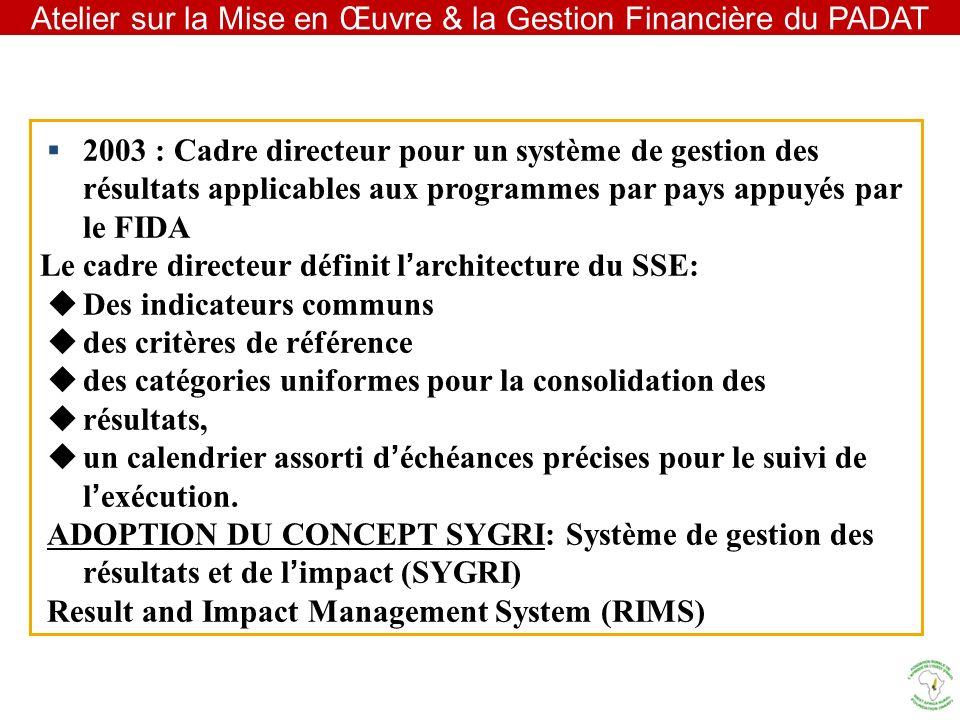 Atelier sur la Mise en Œuvre & la Gestion Financière du PADAT 2003 : Cadre directeur pour un système de gestion des résultats applicables aux programm