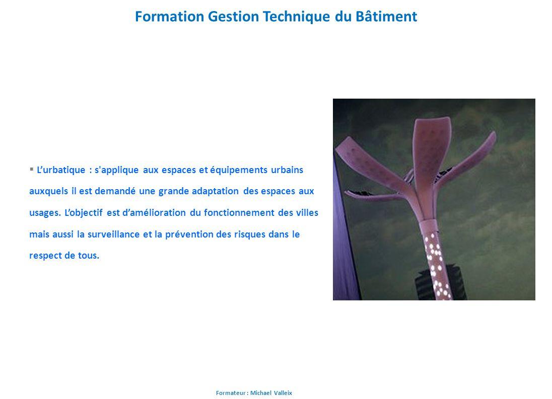 Formateur : Michael Valleix Formation Gestion Technique du Bâtiment Lurbatique : s'applique aux espaces et équipements urbains auxquels il est demandé