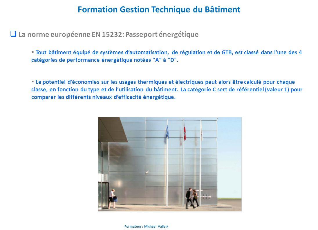 Formateur : Michael Valleix Formation Gestion Technique du Bâtiment La norme européenne EN 15232: Passeport énergétique Tout bâtiment équipé de systèm