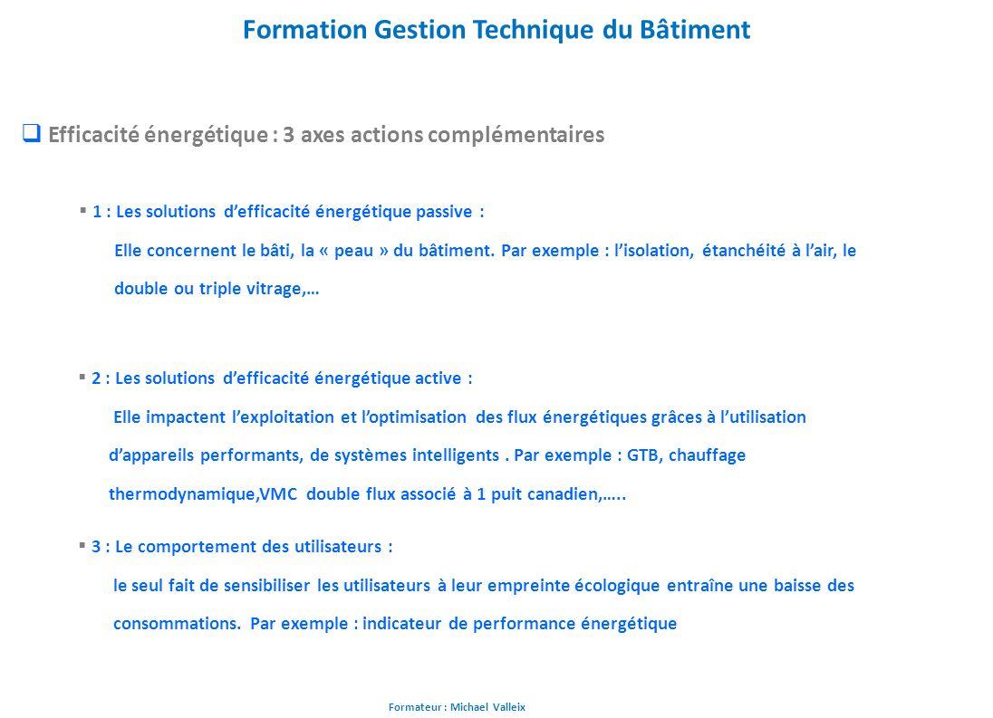 Formateur : Michael Valleix Formation Gestion Technique du Bâtiment Efficacité énergétique : 3 axes actions complémentaires 1 : Les solutions defficac