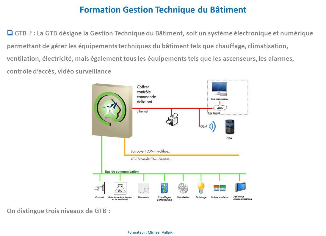 Formateur : Michael Valleix Formation Gestion Technique du Bâtiment GTB ? : La GTB désigne la Gestion Technique du Bâtiment, soit un système électroni