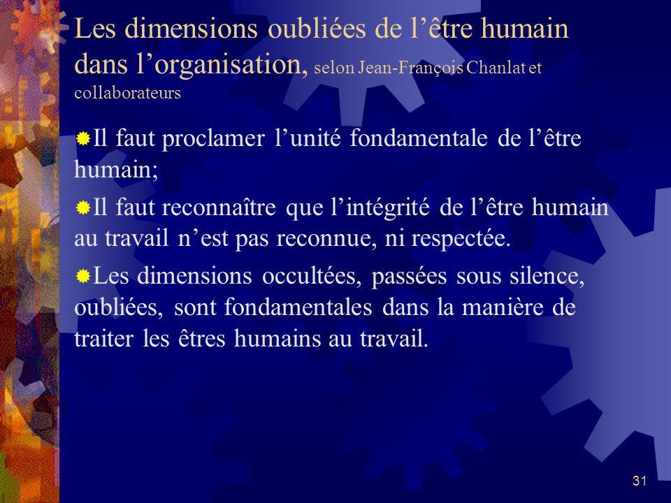 30 Les multiples dimensions de lêtre humain, selon Robin Fortin Pour comprendre lêtre humain, il faut le considérer dans toutes ses dimensions: La dim