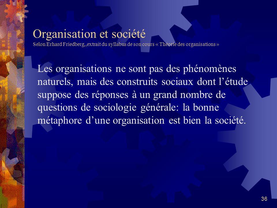 35 Les organisations du travail: des métaphores pour les comprendre Gareth Morgan, Images of Organization, 1986 Les métaphores utilisés par Morgan pou